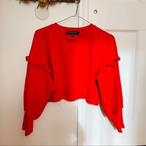 Red Orange Crop Ruffle Top